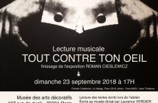 lecture musicale : Tout contre ton oeil le 23 septembre 2018
